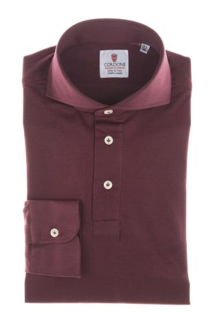 Cordone1956  - Shirt Polo Mod. Polo Bordeaux Shirt By-Hand   - Made by: Handmade  - Type: casual   - Made In Italy