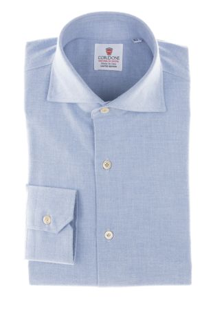 Cordone1956  - Classic Shirt  Mod. Azure Flennel Shirt   - Made by: Machine    - Type: casual   - Made In Italy