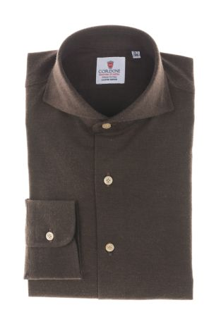 Cordone1956  - Classic Shirt  Mod. Brown Flannel Shirt   - Made by: Machine    - Type: casual   - Made In Italy