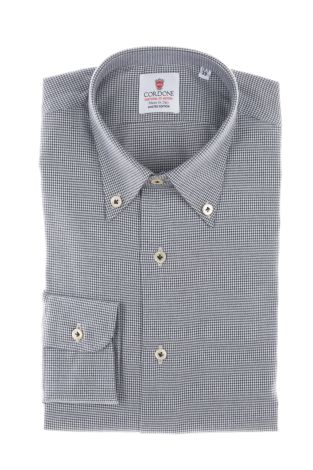 Cordone1956  - Classic Shirt Mod. White and Bluee Flannel Piedi De Poule  - Made by: Machine    - Type: business   - Made In Italy