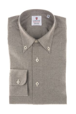 Cordone1956  - Classic Shirt Mod. White and Brown Flannel Piedi De Poule  - Made by: Machine    - Type: business   - Made In Italy