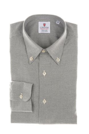 Cordone1956  - Classic Shirt Mod. White and Grey Flannel Piedi De Poule  - Made by: Machine    - Type: business   - Made In Italy