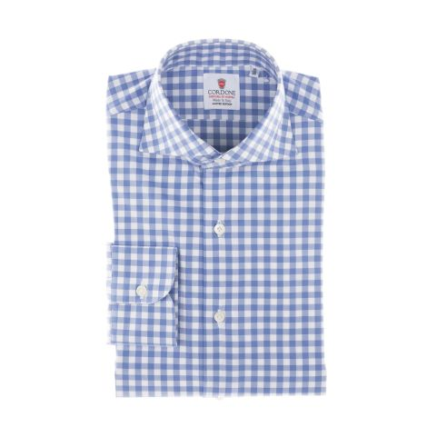 Cordone1956  - Classic Shirt Mod. Azure And White CheckeRed Twill Cotton   - Made by: Machine    - Type: casual   - Made In Italy