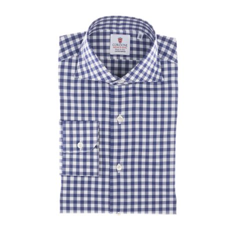 Cordone1956  - Classic Shirt Mod. Blue And White CheckeRed Twill Cotton   - Made by: Machine    - Type: casual   - Made In Italy