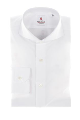 Cordone1956  - Classic Shirt Mod. White Non Iron Panama Cotton   - Made by: Machine   - Type: casual   - Made In Italy