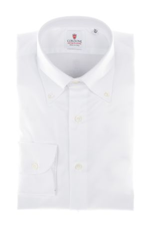 Cordone1956  - Classic Shirt Mod. White Cambridge Non Iron Shirt   - Made by: Machine   - Type: casual   - Made In Italy