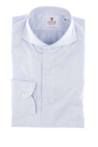 Cordone1956  - Classic Shirt Mod. Light Azure Non Iron Twill Cotton   - Made by: Machine   - Type: casual   - Made In Italy