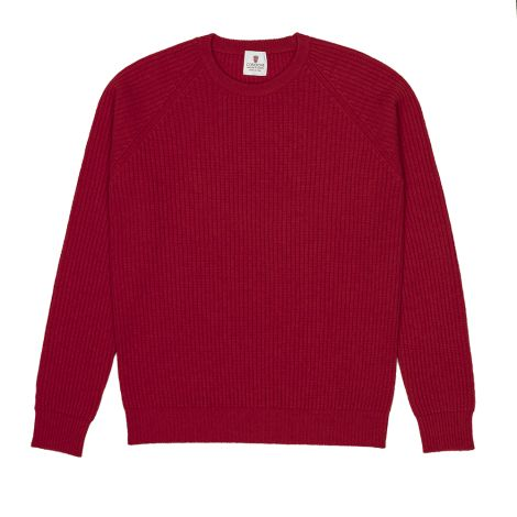 Cordone1956  -  Sweatshirt Crew-Neck Red  - Fabric Lana Cashmere   - Color Red  -