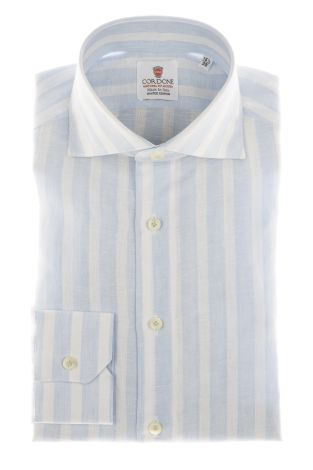 Cordone1956 - Shirts Linen Mod. Linen Big Stripes  Azure  And White - Made by Machine - Type Casual - Made In Italy