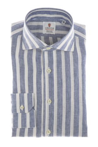 Cordone1956 - Shirts Linen Mod. Linen Big Stripes  Blu And White - Made by Machine - Type Casual - Made In Italy
