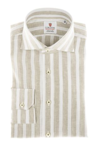 Cordone1956 - Shirts Linen Mod. Linen Big Stripes  Beige And White - Made by Machine - Type Casual - Made In Italy