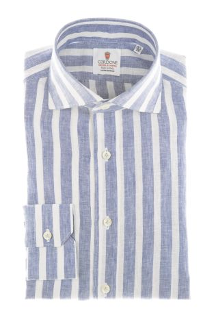 Cordone1956 - Shirts Linen Mod. Linen Big Stripes  Light Blu And White - Made by Machine - Type Casual - Made In Italy