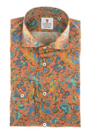 Cordone1956  - Shirt Limited Edition  Mod. Multicolor Orange  - Made by: Machine    - Type: casual   - Made In Italy