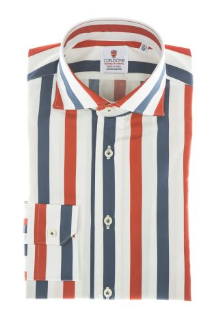 Cordone1956 - Shirts Limited Edition Mod. Cotton Big Stripes Red And Blu White - Made by Machine - Type Casual - Made In Italy