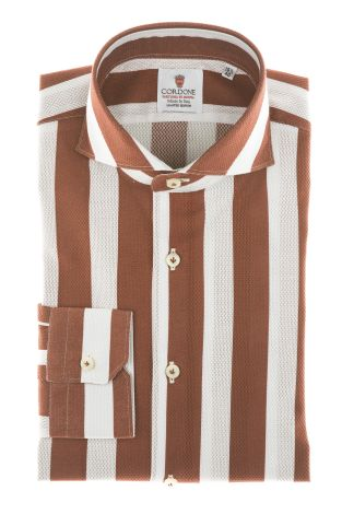 Cordone1956 - Shirts Limited Edition Mod. Giro Inglese Big Stripes Bordeaux White - Made by Machine - Type Casual - Made In Italy