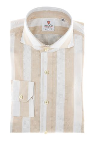 Cordone1956 - Shirts Limited Edition Mod. Giro Inglese Big Stripes Beige White - Made by Machine - Type Casual - Made In Italy