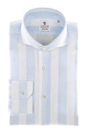Cordone1956 - Shirts Limited Edition Mod. Giro Inglese Big Stripes Azure White - Made by Machine - Type Casual - Made In Italy