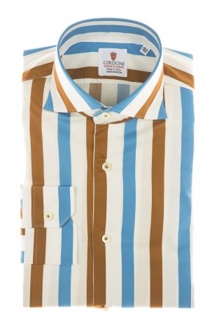 Cordone1956 - Shirts Limited Edition Mod. Cotton Big Stripes Azure And Brown White - Made by Machine - Type Casual - Made In Italy