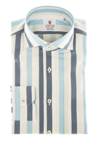 Cordone1956 - Shirts Limited Edition Mod. Cotton Big Stripes Azure And Blu White - Made by Machine - Type Casual - Made In Italy