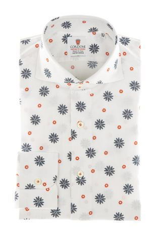 Cordone1956 - Shirts Limited Edition Mod. Seersucker Flower Printed Red White - Made by Machine - Type Casual - Made In Italy