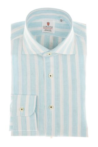 Cordone1956 - Shirts Linen Mod. Linen Big Stripes Turquoise  And White  - Made by Machine - Type Casual - Made In Italy