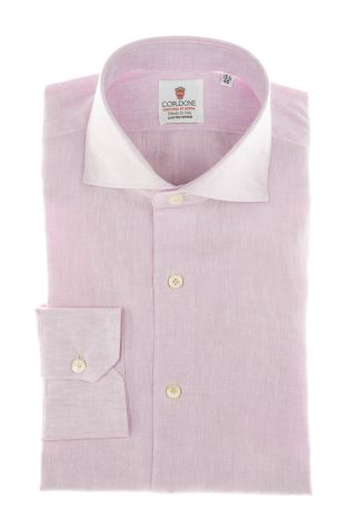Cordone1956 - Shirts Linen Mod. Pink  Linen Shirt - Made by Machine - Type Casual - Made In Italy