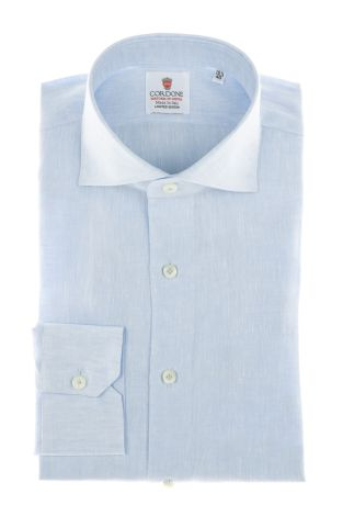 Cordone1956 - Shirts Linen Mod. Azure Linen Shirt - Made by Machine - Type Casual - Made In Italy
