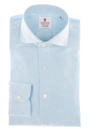 Cordone1956 - Shirts Linen Mod. Turquoise Linen Shirts  - Made by Machine - Type Casual - Made In Italy