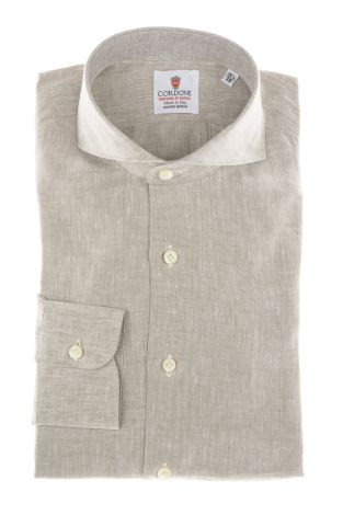 Cordone1956 - Shirts Linen Mod. Beige Linen Shirts - Made by Machine - Type Casual - Made In Italy