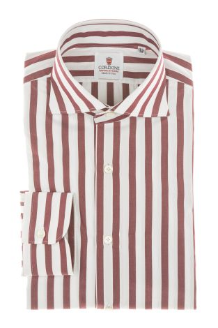 Cordone1956 - Shirts Classic Mod. Popeline Big Stripes Red White - Made by Machine - Type Casual - Made In Italy