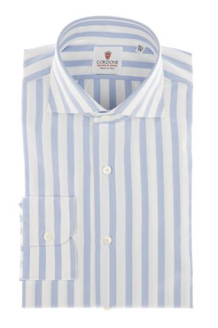 Cordone1956 - Shirts Classic Mod. Popeline Big Stripes Azure White - Made by Machine - Type Casual - Made In Italy