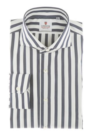 Cordone1956 - Shirts Classic Mod. Popeline Big Stripes Blu White - Made by Machine - Type Casual - Made In Italy