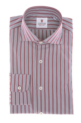 Cordone1956 - Shirts Classic Mod. Popeline Stripes Red, Blue and White Red - Made by Machine - Type Casual - Made In Italy