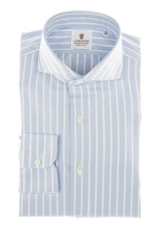 Cordone1956 - Shirts Classic Mod. Piquet Big Stripes  Azure - Made by Machine - Type Casual - Made In Italy