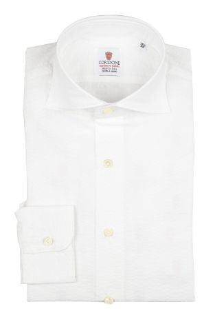 Cordone1956 - Shirts By-Hand Mod. Seersucker White Shirt By-Hand White - Made by Handmade - Type Casual - Made In Italy