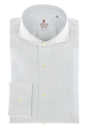 Cordone1956 - Shirts By-Hand Mod. Seersucker Stripes Azure and White Shirt By-Hand Blue - Made by Handmade - Type Casual - Made In Italy