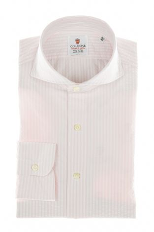 Cordone1956 - Shirts By-Hand Mod. Seersucker Stripes Pink and White Shirt By-Hand Blue - Made by Handmade - Type Casual - Made In Italy