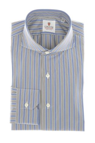 Cordone1956 - Shirts Classic Mod. Popeline Stripes Azure, Blue and White Azure - Made by Machine - Type Casual - Made In Italy