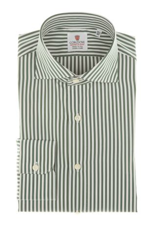 Cordone1956 - Shirts By-Hand Mod. Popeline Stripes Green and White Shirt By-Hand Azure - Made by Machine - Type Casual - Made In Italy