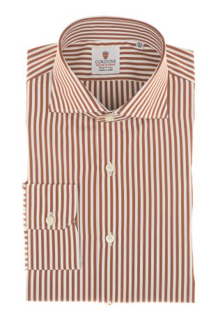 Cordone1956 - Shirts By-Hand Mod. Popeline Stripes Orange and White Shirt By-Hand Orange - Made by Machine - Type Casual - Made In Italy