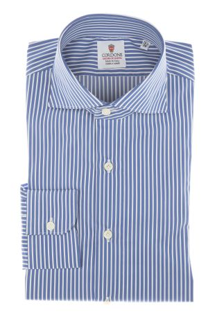 Cordone1956 - Shirts By-Hand Mod. Popeline Stripes Blu Shirt By-Hand Blue - Made by Machine - Type Casual - Made In Italy