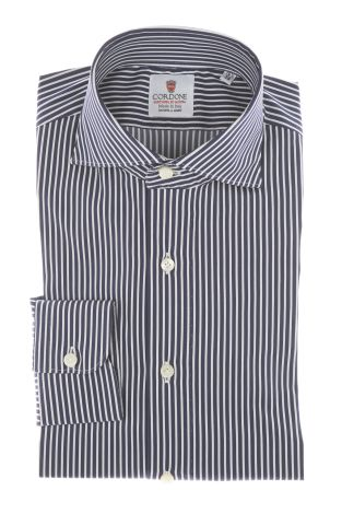 Cordone1956 - Shirts By-Hand Mod. Popeline Stripes Blu Navy Shirt By-Hand Blue - Made by Machine - Type Casual - Made In Italy