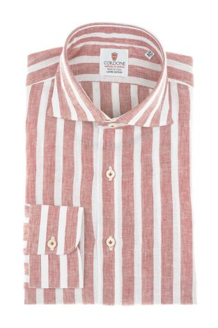 Cordone1956 - Camicie Lino Mod. Linen Big Stripes Red And White - Realizzata a macchina - Fatta in Italia