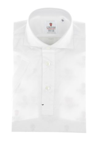 Cordone1956 - Mod. Shirt Polo White - Short Sleeve - Shirt By-Hand - Made In Italy