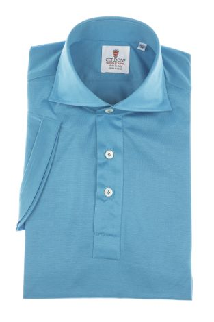Cordone1956 - Mod. Shirt Polo Azure - Short Sleeve - Shirt By-Hand - Made In Italy