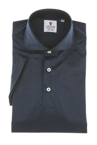 Cordone1956 - Mod. Shirt Polo Blu Navy - Short Sleeve - Shirt By-Hand - Made In Italy