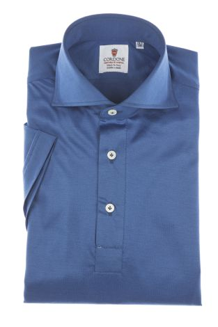 Cordone1956 - Mod. Shirt Polo Blu - Short Sleeve - Shirt By-Hand - Made In Italy