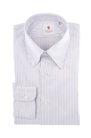 Cordone1956  - Classic Shirt Mod. Oxford Stripes Lilac   - Made by: Machine   - Type: casual  - Made In Italy