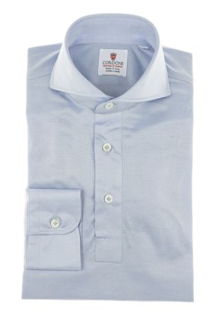 Cordone1956 - Mod. Shirt Polo Light Azure - Shirt By-Hand - Made In Italy
