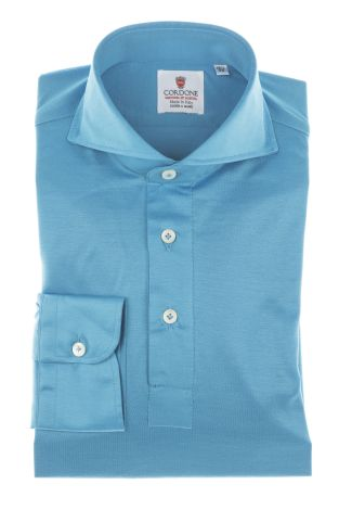 Cordone1956 - Polo shirts Mod. Polo Azure Shirts By-Hand Azure - Made by Machine - Type Casual - Made In Italy